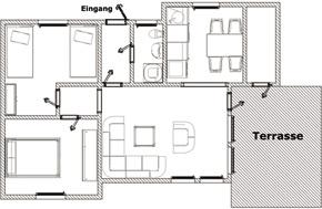 Grundriss des Ferienhauses in Burhave an der Nordsee